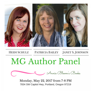 heidischulz-patriciabailey-janetjohnson author panel at Annie Bloom's